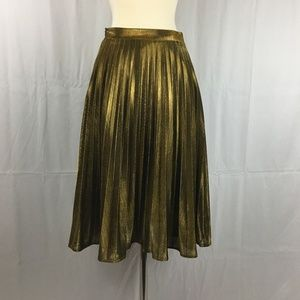 Gold Metallic Pleated Skirt XS